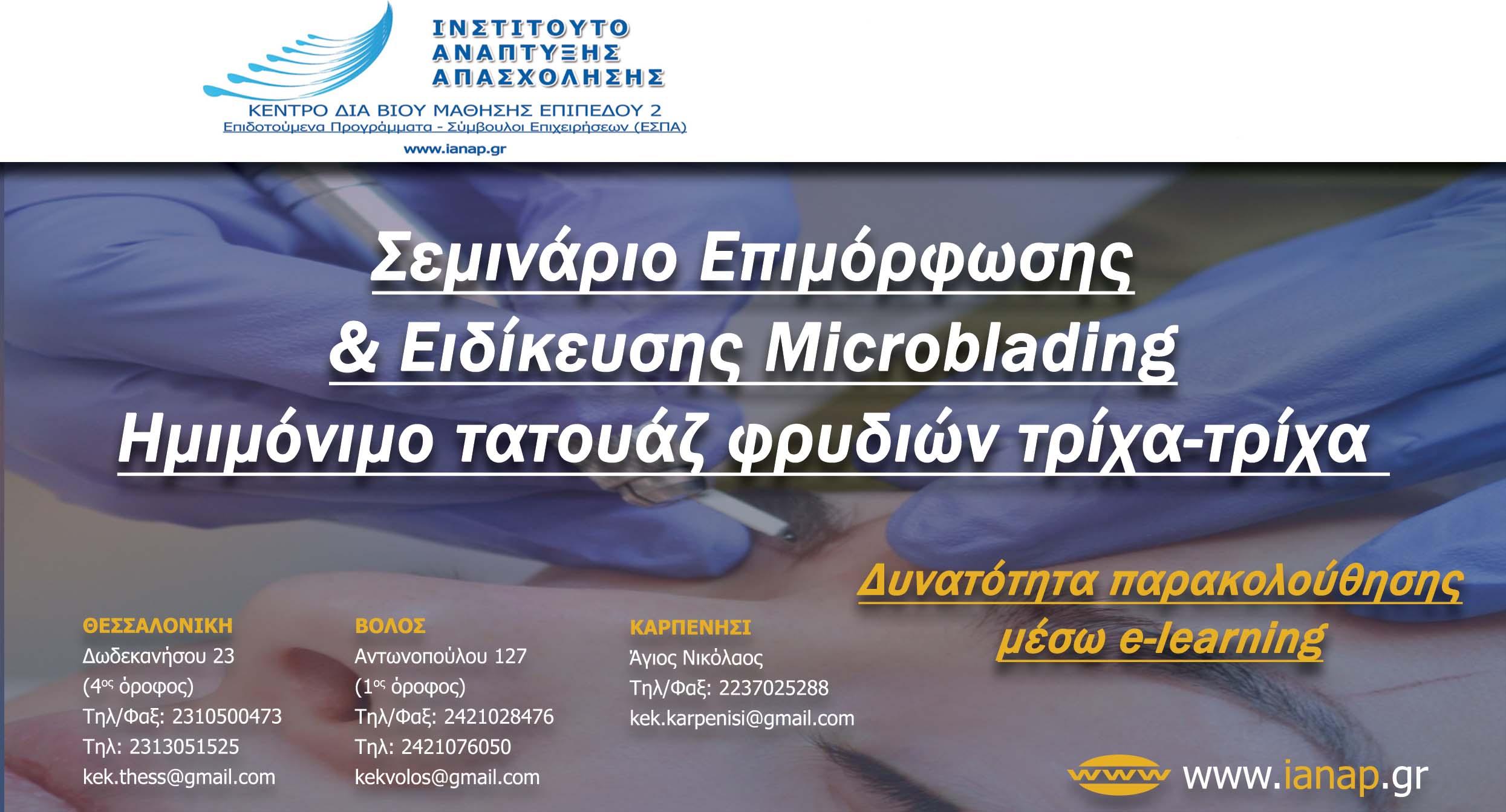Σεμινάριο Επιμόρφωσης & Ειδίκευσης Microblading Ημιμόνιμο τατουάζ φρυδιών τρίχα-τρίχα